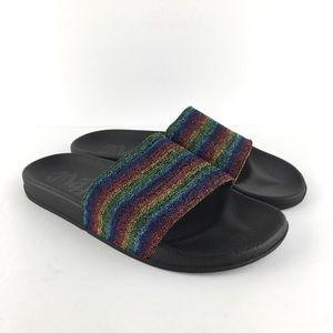 Mad Love Rainbow Glitter Slides Size 11
